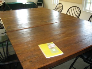 Table made from up-cycled floorboards