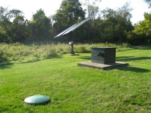 Solar panel and cistern behind ECGA HQ